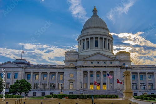Arkansas state house with sunsetting behind clouds Wallpaper Mural