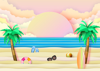 Fototapeta samoprzylepna Summer beach and travel banner concept design on blue wave ocean background.Paper art vector illustration