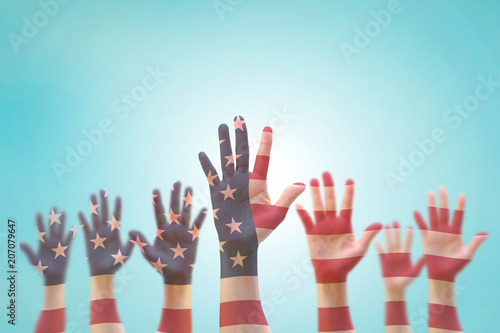 Garden Poster Brazil USA American flag pattern on people hands for independence day, democratic voting, volunteering participation election, civil rights, national holiday service help wanted concept