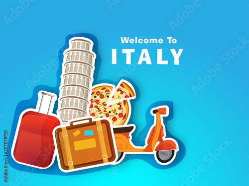 Valokuvatapetti Itlay travel concept with leaning tower of Pisa, travelling bags, scooter and Italina pizza on blue background