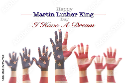 Fotografía Martin Luther King day, January 18th, I have a dream with American flag pattern