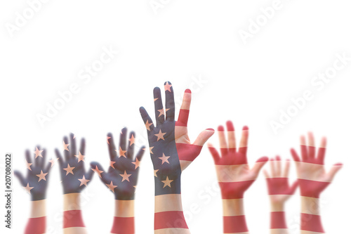 Garden Poster Brazil USA American flag pattern on people hands for voting, volunteering participation election, civil rights concept