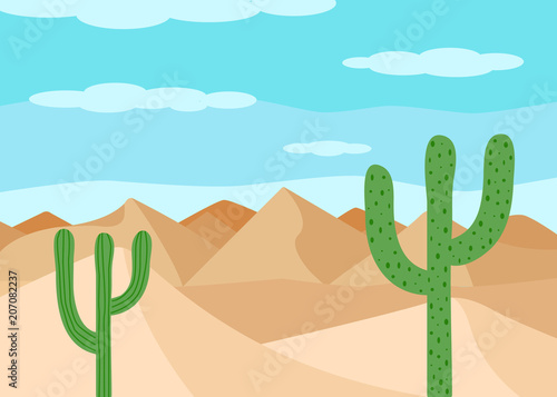 Staande foto Turkoois The desert landscape. Sand and cacti. Vector illustration.