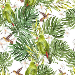 FototapetaBright watercolor seamless pattern with tropical leaves and birds.