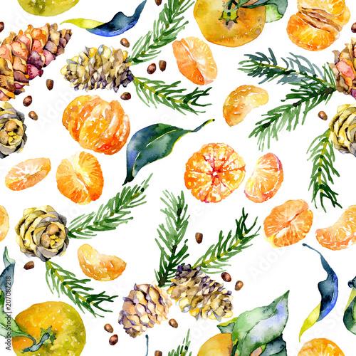 iglaste-lesne-rustykalne-bez-szwu-wzor-z-szyszek-i-galezi-cytrusy-smaczne-pomaranczowe-mandarynki-owocowe-akwarela-ilustracja