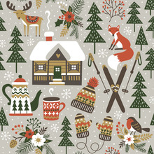 Hand Drawn Seamless Vector Pattern With Cute Forest Animals. Winter Woodland Repetitive Wallpaper With Deer, Fox, Bird, Chalet, Flowers And Ski On Light Grey Background. Perfect For Fabric, Wallpaper