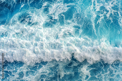 Spoed Fotobehang Water Aerial view of the ocean wave.