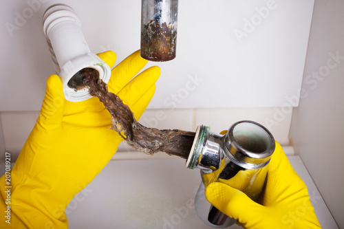 Fotografia, Obraz  Washbasin's siphon cleaning in a bathroom