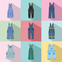 Overalls Workwear Icons Set. Flat Illustration Of 9 Overalls Workwear Vector Icons For Web