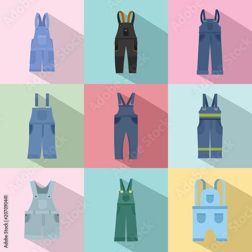 Overalls workwear icons set. Flat illustration of 9 overalls workwear vector icons for web Wall mural
