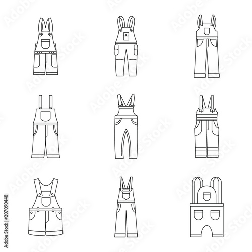 Overalls workwear icons set. Simple illustration of 9 overalls workwear vector icons for web Wall mural