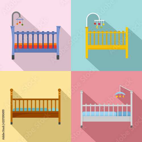 Baby crib cradle bed icons set Fototapet