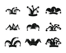 Jester Fools Hat Icons Set. Simple Illustration Of 9 Jester Fools Hat Vector Icons For Web