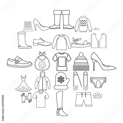 Valokuva  Outgoing clothes icons set