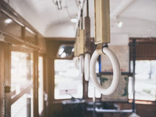 Handrails on tram Vintage style safety on transportation