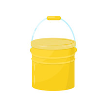 Flat Vector Icon Of Bright Yellow Metal Bucket. Small Water Pail With Lid And Handle. Element For Advertising Flyer Of Cleaning Company