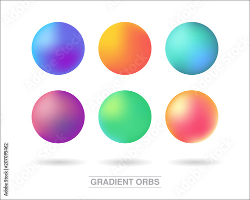 Gradient orbs set isolated on white background Fototapete