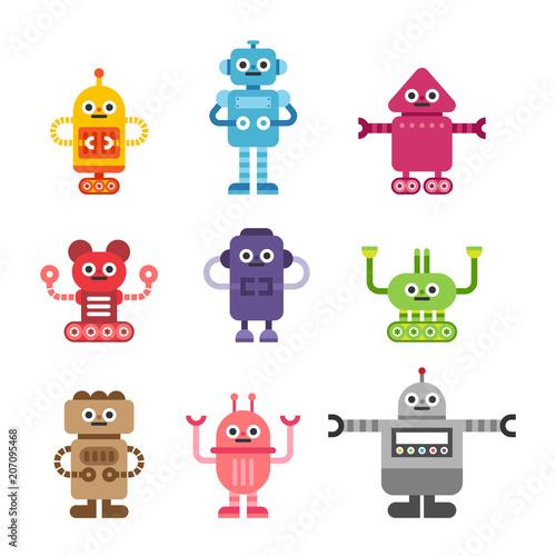 Deurstickers Robots various kind of cute robots character vector flat graphic design illustration set