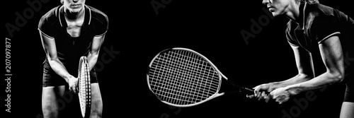 Photographie  Composite image of tennis player playing tennis with a racket