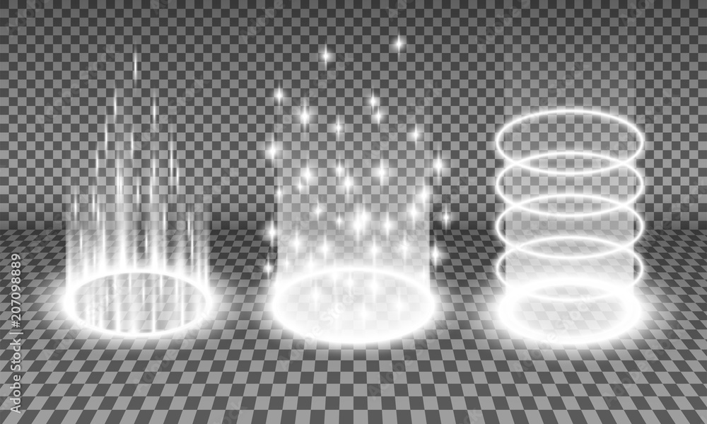 Fototapeta Teleport light effects vector illustration, various sci-fi or magical portals isolated on a transparency background, teleportation procedure glow effect, futuristic holographic design element set