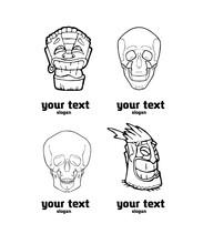 Skull And Totem Polynesian Symbol Logo Set