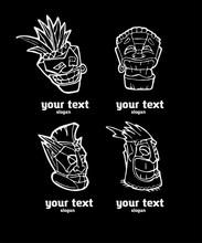 Hand Drawn Totem Face Symbol Set