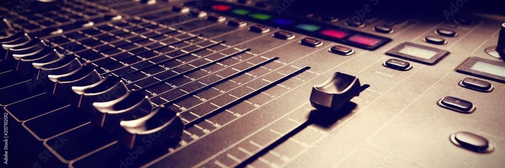 Fototapeta Sound mixer in studio