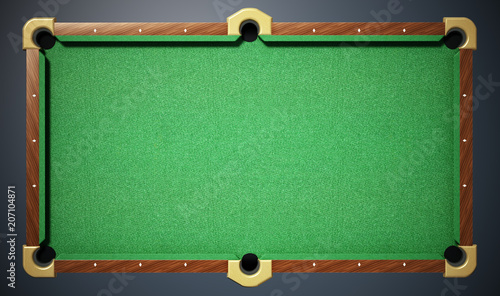 Pool table with green cloth. Top view. 3D illustration Poster Mural XXL