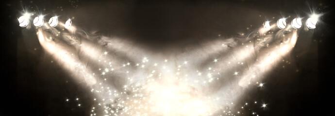 Fondo musical.Luces de escenario y focos.Concepto de música en directo y conciertos