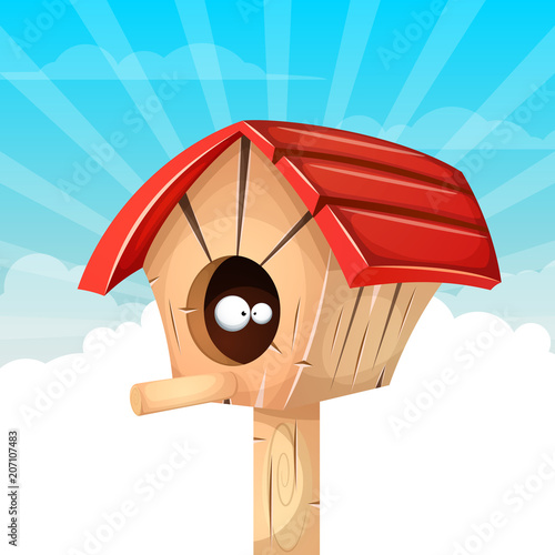 Canvas Print Cartoon birdhouse illustration. Cloud landscape. Vector eps 10