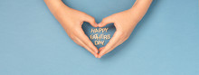 Happy Father's Day Banner With Childs Hands In Shape Of Heart And Wooden Letters Inside. Concept Card.