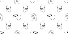 Bear Seamless Pattern Polar Bear Vector Panda Isolated Camera Photographer Wallpaper Background Cartoon White