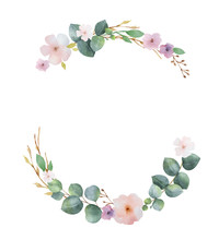 Watercolor Vector Wreath With Green Eucalyptus Leaves, Pink Flowers And Branches.