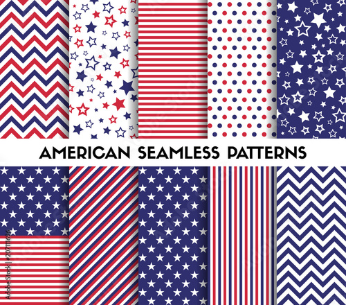 Big set of american style vector seamless patterns Wallpaper Mural