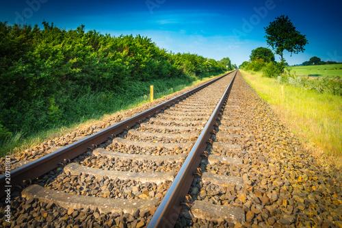 In de dag Spoorlijn Eisenbahnschienen