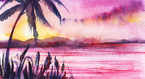 Sunset on the tropical coast. Silhouettes of palms and grass against a background of purple lilac yellow pink sunset. Sea mountains sky. Hand-painted watercolor on wet paper illustration.