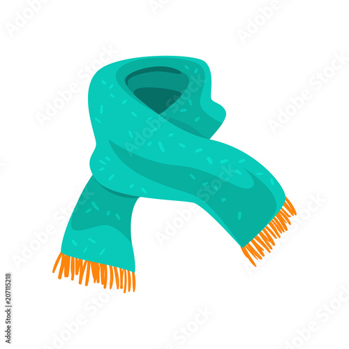 Cuadros en Lienzo Turquoise woolen scarf with orange fringe on the ends