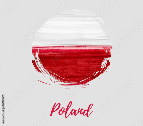 Fotografie, Obraz Poland flag in grunge round shape