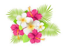 Tropical Flowers With Leaves