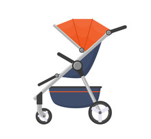 Vector Stroller Isolated On Wh...