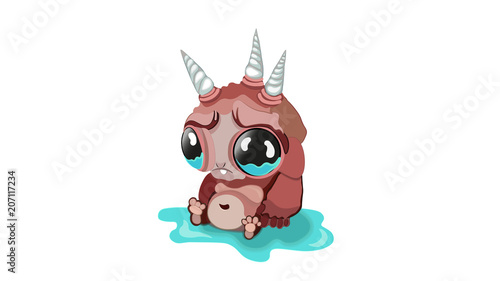 Sad cartoon fantastic monster. Three unicorn and big eyes character