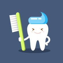 Cute Happy Smiling Tooth With Toothbrush And Toothpaste Hairstyle. Clear Tooth Concept. Brushing Teeth. Dental Kids Care. Flat Illustration On The Theme Of Dentistry. Isolated Vector.