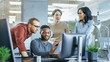 canvas print picture - In Busy Corporate Office Team of Diverse Young Creative People Work on a Problem Solution. Collectively They Try to Help Coworker to Solve Problem.