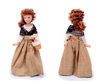 Porcelain Doll In Vintage Clothes With A Basket, Front And Back View