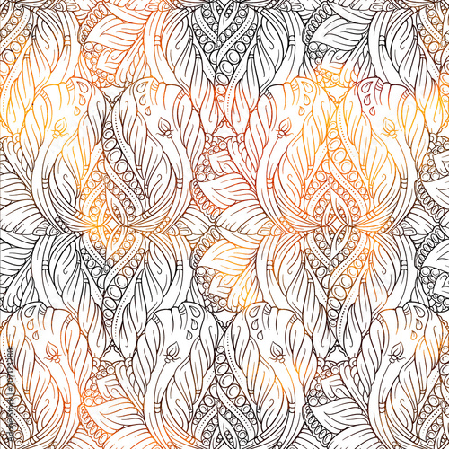 Cotton fabric Fantasy decorative ornamental seamless pattern
