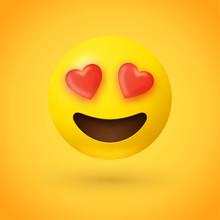 Loving Eyes Emoji - Emoticon With Eyes Of Red Hearts