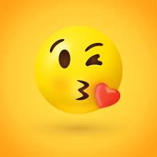 Kissing Face Emoji With Red Heart On Yellow Background - Kiss Emoticon Illustration