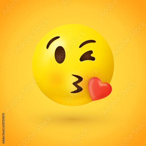 Kissing face emoji with red heart on yellow background - kiss emoticon illustrat Fototapet