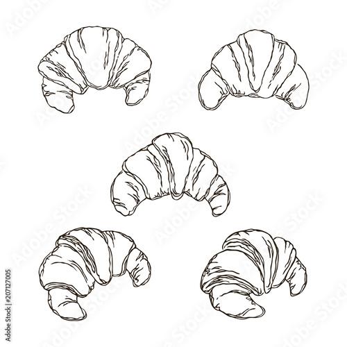 Fotografia vector contour croissant bread set coloring book outlined