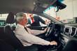 Aged man buy car with dealer.